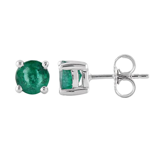 925 Sterling Silver Stud Earring with Emerald Color Stones (0.98 Carat)