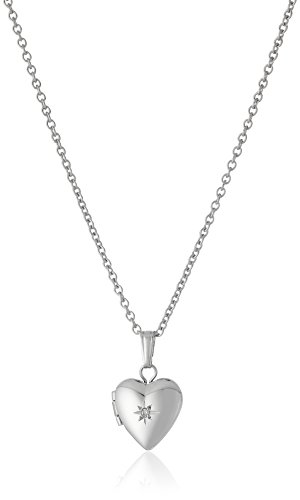 Children's and Baby Sterling Silver Diamond Heart Locket Necklace, 13