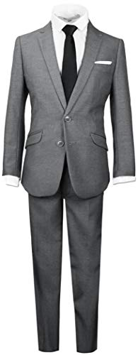 Black n Bianco Boys Signature Slim Suit in Dark Grey Size 4