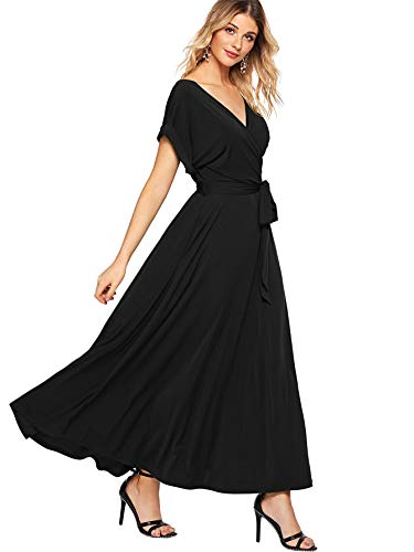 Milumia Women's Boho Deep V Neck Floral Chiffon Wrap Split Long Maxi Dress Black-4 Large ()