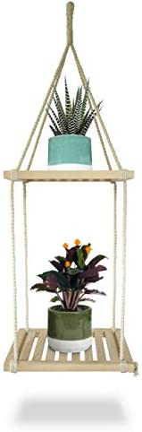 23 Bees Macrame Hanging Planter Shelf Indoor Plant Holder Floating Shelves Handcrafted Wood with Rope and Hanger 2 Wooden Square Layers