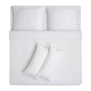 Schweden Ikea Ikea Vägtistel Bettset Weiß 5 Teilig 240x220 Cm Leinen