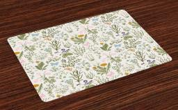 Ambesonne Floral Place Mats Set of 4, Vintage Garden Plants with Herbs Flowers Botanical Classic Design, Washable Fabric Placemats for Dining Room Kitchen Table Decor, Beige Reseda Green Pink Blue