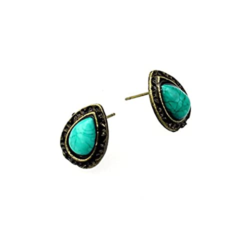 Vanvler Unique Retro Jewelry Teardrop Shaped Turquoise Dangle Earrings Stud (Color:As shown) - Turquoise Tear