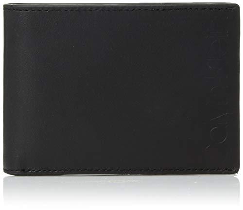 Calvin Klein Men's Slimfold Wallet with Large Embossed Logo, Black, One Size