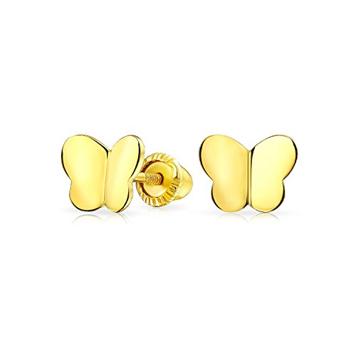 - Tiny Minimalist Lucky Butterfly Stud Earrings For Women For Teen For Girlfriend Real 14K Yellow Gold Screwback
