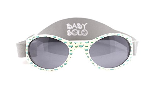 Baby Solo | Baby Sunglasses & Toddler Sunglasses | Soft, Comfortable & Adjustable | Promotes Eye Health | Safe & BPA FREE | (0-5 years old, Buncha Crunch and Grey - Baby With Sunglasses