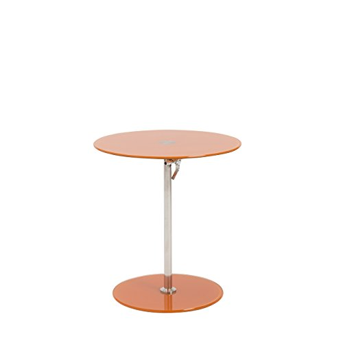 Euro Style Radinka Height Adjustable Round Glass Table, Orange Print (Euro Style Glass Desk)