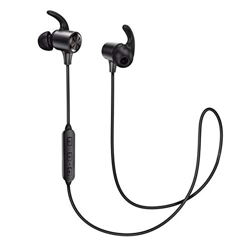 Bluetooth Headphones, Wireless Earphones Bluetooth 4.2, IPX6, Magnetic, Noise Cancelling Mic, 9hrs Playtime Sport Earbuds APtX in Ear Sweatproof for Running, 025 BLACK-03