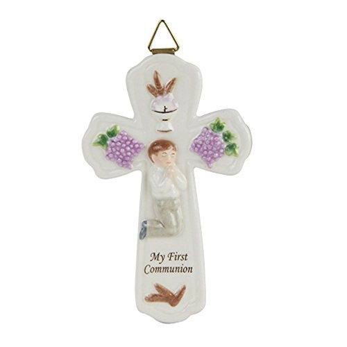 Pacific Giftware My First Communion Little Boy Cross Statue Fine, Porcelain Figurine, 6.75