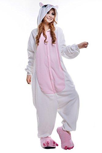Canasour Polar Fleece White Cat Women's One-piece Pajamas (L, White Cat) ()