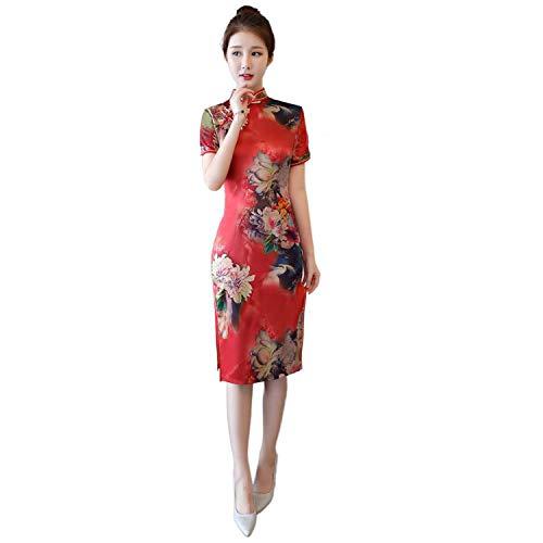Reveryml Mujer Vestido de Estilo Chino Vintage Qipao Cheongsam Oriental Vestido Chino Tradicional Ropa para Mujer 882