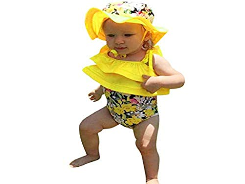 - Tronet Baby Baby Girl Swim Swimsuit Ruffled Swimwear Floral Swimsuit Cap Bathing Beach Rash Protective Sunsuit Clothes Set (2-3 Years, Yellow)