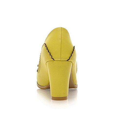 AllhqFashion Mujeres Puntera Redonda Cerrada Tacón ancho Sólido De salón con Lazos Amarillo