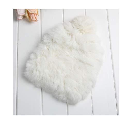 (Winter Bomber Hats for Women Fluffy Rabbit Fur Beanie Knitting Wool Cute Girls Real Fur Cap White)