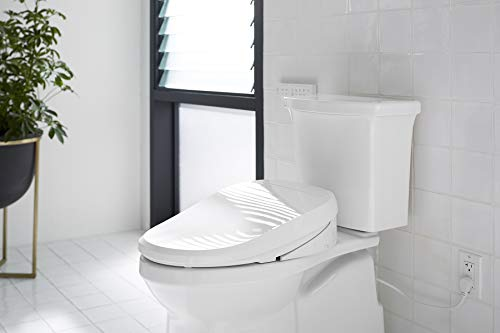 KOHLER K-8298-CR-0 C3 455 Elongated Heated Bidet Toilet Seat, White with Remote Control, Quiet-Close Lid, Automatic Deodorization, Self-Cleaning Wand, Adjustable Water Pressure and - Remote Kohler