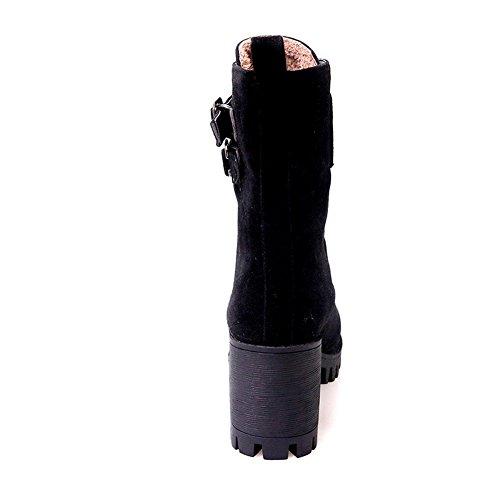 Balamasa Damer Bandage Chunky Klackar Spänne Frostade Boots Svart