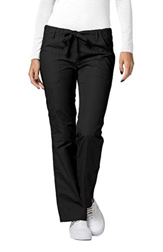 Adar Universal Womens Low-Rise Multipocket Drawstring Straight Leg Pants - 510 - Black - ()