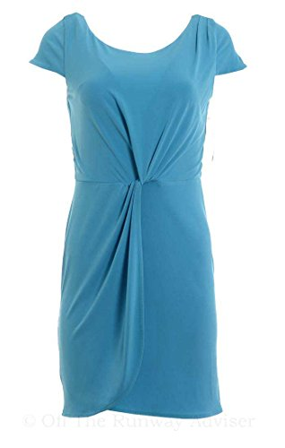 BAR III Women's Cap Sleeve Drape Matte Jersey Mini Dress, Blue Danube (L) ()