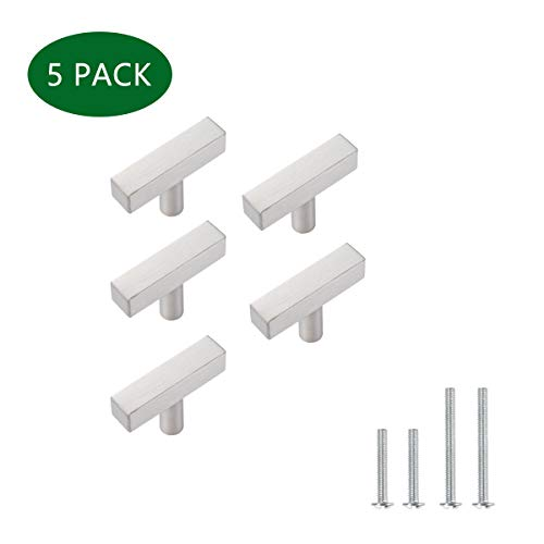 (Silver Cabinet Handles Single Hole 2 Inch Stainless Steel handles for Kitchen Cabinet, Bathroom Cabinet Pulls 5 Pack, 50mm Square Single Hole Cabinet Knob,YTHD1212BN-5PAMZ)