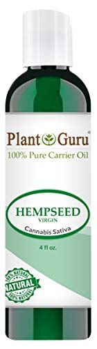 Hemp Seed Oil 4 oz. Virgin, Unrefined 100% Raw Pure Natural - Skin, Body And Hair Moisturizer. Works For Massage, Acne, More!