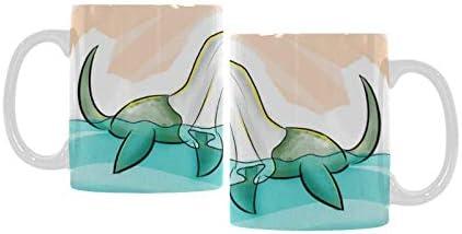 Amazon Com Funny Halloween Cartoon Loch Ness Monster Ceramic Coffee Mug 11 Ounce Kitchen Dining