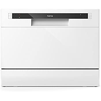 hOmeLabs Compact Countertop Dishwasher - Portable Mini Dish Washer in Stainless Steel Interior for Small Apartment Office and Home Kitchen - Dishwashers with 6 Place Setting Rack and Silverware Basket