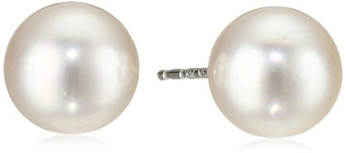 14k White Gold AA-Quality Akoya Cultured Pearl Stud Earrings ()
