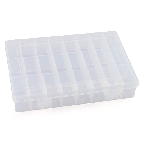 Plastic Jewelry Box, RilexAwhile Plastic Components Storage Cases Boxes with Adjustable Dividers 24 Grids