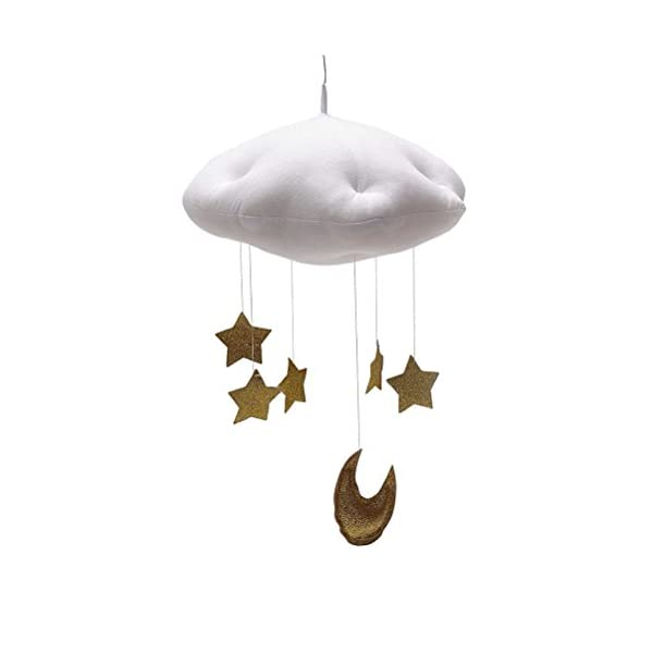 YeahiBaby Nursery Ceiling Mobile Baby Crib Mobile Clouds Moon Stars Ceiling Hanging Decorations Baby Shower Kids Room Decoration (White Clouds and Golden Stars)