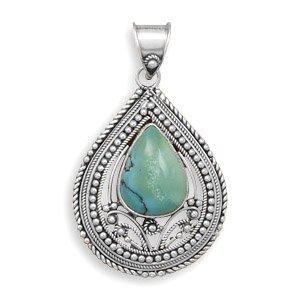 Collier avec pendentif-Argent 925/1000 oxydé rouleau et perles et pierre Turquoise-BORD CENTRAL