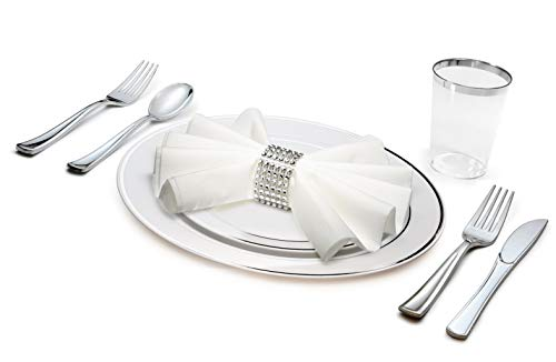""""""" OCCASIONS"""" 1080 Piece / 120 Guest - Full Tableware Set - Wedding Disposable Plastic Plates, Plastic Silverware, Silver Rimmed Tumblers & Linen Feel Napkins w/napkin Rings (Combo C, White/Silver)"""