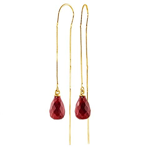 (Galaxy Gold 14k Solid Yellow Gold Dyed 6.60 Carat Natural Ruby Threaded Earrings)
