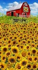 Sunflowers Farm And Barn Pane 24 X 44 Timeless Treasures Cotton Fabric