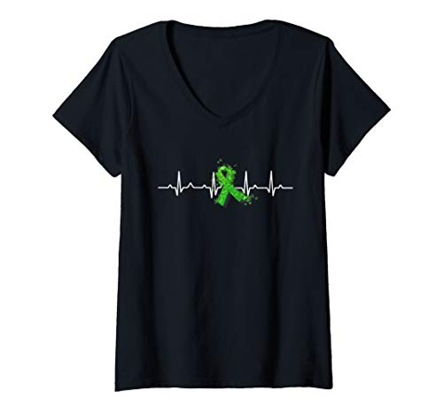 Womens Green Ribbon Heart Beat Mental Health Awareness