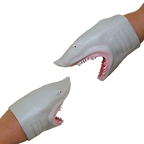 Soft Silicone Great White Megalodon Jaws Shark Hand Puppet 2 Pack (Fish Hand Puppet)
