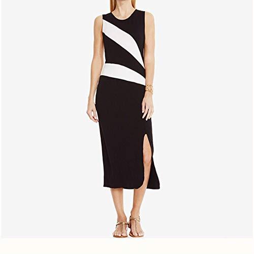 BBethun Les Femmes lgantes temprament col Rond sans Manches ray Split Slim Sexy Casual Dress Jupe (Color : Black, Size : M) Black