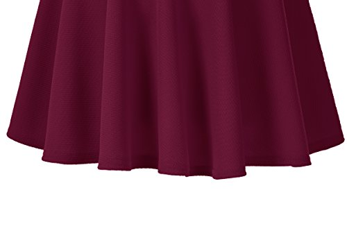 Urban CoCo Women's Basic Versatile Stretchy Flared Casual Mini Skater Skirt (X-Large, Wine Red)