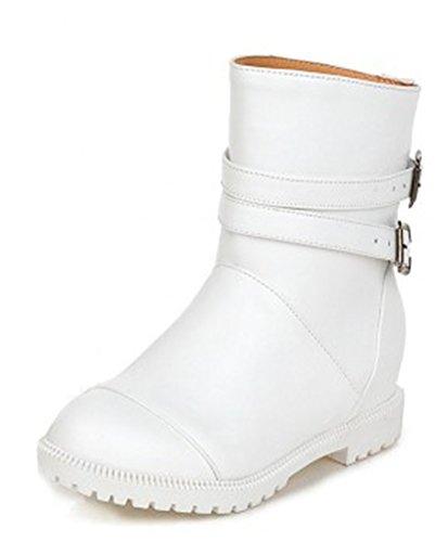 Mode Style Femmes Blanc Preppy Cheville Talon Aisun Bottes Plat gq6TUwSpx