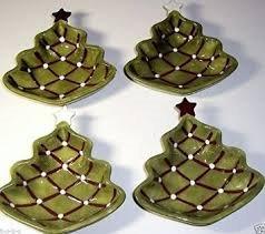 4 pottery barn seasons greetings christmas holiday tree shape plate