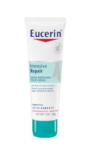 Eucerin Peau sèche Foot Therapy Crème, Plus Réparateur Intensif, 3-Ounce Tubes (Pack de 3)