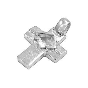 Joyara - Collier Femme Argent Fin 925/1000 Oxyde de Zirconium Grecque Croix (Vient avec une chaîne de 45 CM)
