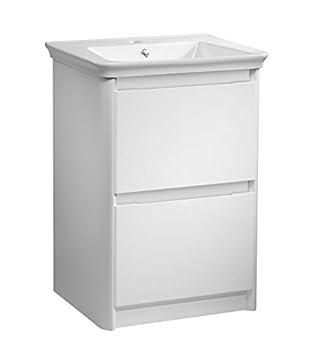 Freistehendes Waschbecken, Unterschrank mit 2 Schubladen Weiß ...