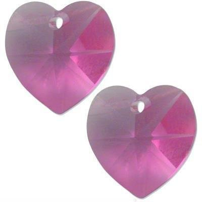 - 2 Rose Swarovski Crystal Heart Pendant 6202 14mm New