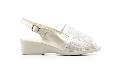 Conbuenpie by Jam - Zapato mujer ancho especial licra con cuña color platino