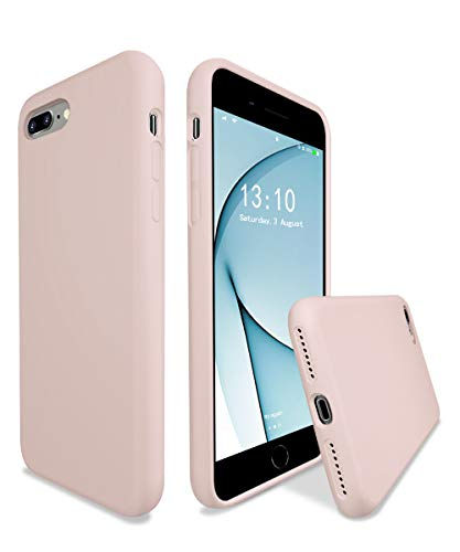 K TOMOTO Compatible with iPhone 8 Plus/iPhone 7 Plus Case, Liquid Silicone Gel Rubber Full Body Protective Bumper Cover with Microfiber Lining Cloth Smooth Shockproof Phone Case, Pink Sand
