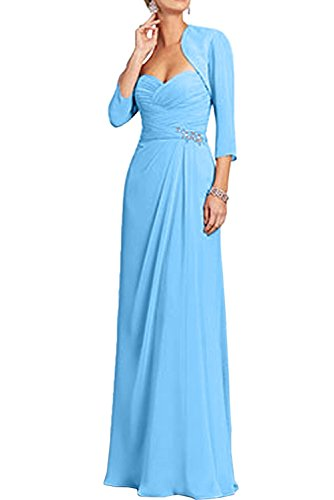 Festlichkleider Rosa Formalkleider Charmant Chiffon Langarm mit Blau Abendkleider Brautmutterkleider Damen Bolero TOwq5Y