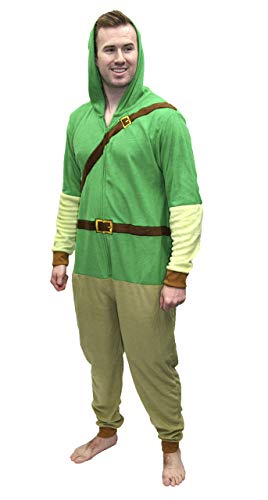 Super Mario Men's Faux Fur Licensed Sleepwear Adult Costume Union Suit Pajama, Zelda Link, Size Large/X-Large