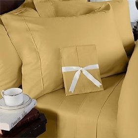 - Solid Gold 300 Thread Count Olympic Queen size Sheet Set 100 % Cotton 4pc Bed Sheet set (Deep Pocket) By sheetsnthings