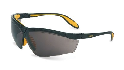 Uvex S3532X Genesis X2 Safety Eyewear, Black and Yellow Frame, Gray UV Extreme Anti-Fog Lens